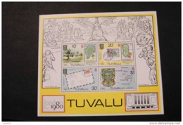 Tuvalu 136a Coat Of Arms Map Stamp On Stamp London 80 Souvenir Sheet 1980 MNH A04s - Tuvalu
