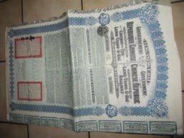 EMPRUNT CHINOIS  Chemins De Fer  LUNG TSING U HAI  1913 Avec  COUPONS - Autres