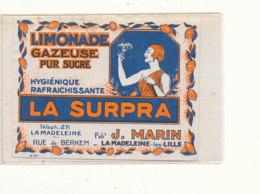 AN 705 / ETIQUETTE     LIMONADE GAZEUSE  LA SURPRA  J. MARRIN  LA MADELEINE LES LILLE - Labels