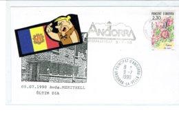 ANDORRE ENVELOPPE OBLITERRÉ  DERNIERE JOUR DE LA POSTE ANCIENNE 9-7-1990 - Lettres & Documents