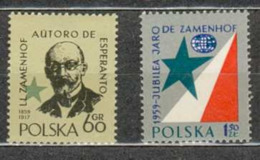 POLAND MNH ** 976-977 CONGRES DE L'ESPERANTO. ZAMENHOF, INVENTEUR DE L'ESPERANTO. - 1944-.... Republic