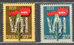 POLAND MNH ** 978-979 CONGRES INTERNATIONAL DE LA JEUNESSE ET DES ETUDIANTS à VIENNE - 1944-.... Republic