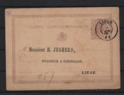 Belgio 1876 Cartolina Postale Da 5cent. Usata Da Liegi Per Città 1876 - Postcards [1871-09]