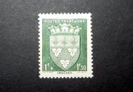 FRANCE 1942 N°556 ** (ARMOIRIES DE VILLES 2ÈME SÉRIE. ORLÉANS. 1F + 1F30 VERT) - 1941-66 Armoiries Et Blasons