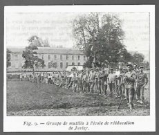 1917  --  JUVISY  GROUPE DE MUTILES A L ECOLE DE REEDUCATION 3R796 - Vecchi Documenti