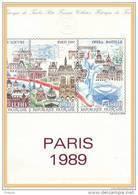 """"""" PARIS 1989 TOUR EIFFEL, LOUVRE, NOTRE DAME..."""" Sur Document Philatélique Officiel De 1989. N° YT BC2583A. - Documenten Van De Post"""