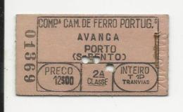 Ticket - Portugal - Companhia Caminhos De Ferro Portugueses - Avanca - Inteiro - 2ª Classe - Europa