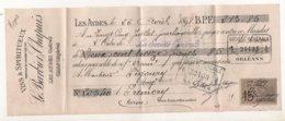 VINS & SPIRITUEUX - Le Barbier Chapuis à LES AYDES (45) & ORAN (Algérie) 26/04/1898 Mandat, Cachets Timbre Fiscal 15c - Francia