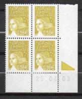 Timbres France Coin Daté Marianne De Luquet N° 3570 (25.04.03)  Neuf ** - Coins Datés