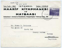 TURKEY : ISTANBUL - MAARIF KITAPHANESI VE MATBAASI - AIR MAIL, 1962 (16 X 12.5cms Approx.) - Turkey