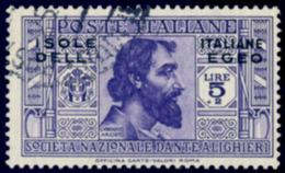 ITALY ITALIA EGEO 1932 DANTE 5 LIRE (Sass. 54) USATO OFFERTA! - Egeo