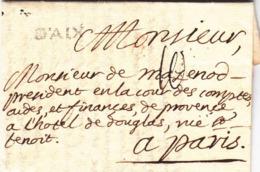 ♦ -   FRANCE: LAC -- OBLITERATION LINÉAIRE -D'AIX A PARIS - 21 NOVEMBRE 1763- RECTO/VERSO - Marcofilie (Brieven)