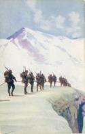 Alpini In Marcia Sul Ghiacciaio - Militari