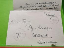 Feldpost 1943, Ettelbruck Avec Lettre, Firma Pitz-Schweitzer - 1940-1944 Deutsche Besatzung