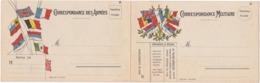 Carte Double En Franchise Militaire - Faisceaux De 7 Et 8 Drapeaux - Marcophilie (Lettres)