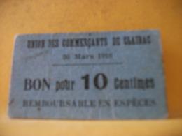 8952 - 47 CLAIRAC. UNION DES COMMERCANTS. BON POUR 10 CENTIMES. 20 MARS 1916 - Buoni & Necessità