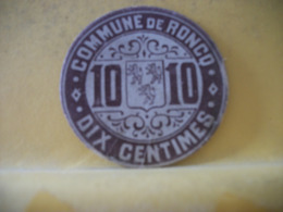 8962 MONNAIE CARTON - 59 COMMUNE DE RONCQ. DIX CENTIMES. - Monetari / Di Necessità