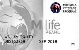 MGM Casinos USA - M Life Pearl Military Veterans Slot Card - Casino Cards