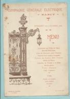 Menu Nancy Compagnie Générale Electrique 5/12/1905 Hôtel De L' Europe Illustration Porte Stanislas ( état ) - Menu
