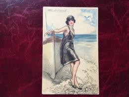 """Cpa-""""femme Posant Sur La Plage Devant Bateau""""-Achille Lucien Mauzan (my Ref ALM3) - Mauzan, L.A."""