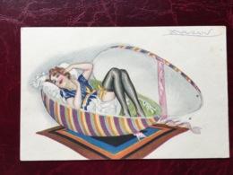 """Cpa-""""femme Sexy Dans Un Oeuf De Pâques""""-Achille Lucien Mauzan (my Ref ALM4) - Mauzan, L.A."""