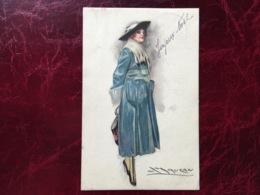 """Cpa-""""femme-chapeau-manteau Bleu-hiver""""-Achille Lucien Mauzan (my Ref ALM5) - Mauzan, L.A."""