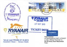 Firstairmail - Ryanair - Düsseldorf/Weeze - Warschau/Modlin - 27.10.2013   [dv40a] - Airmail