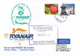 Firstairmail - Ryanair - Warschau/Modlin - Düsseldorf/Weeze - 28.10.2013   [dv42a] - Airmail