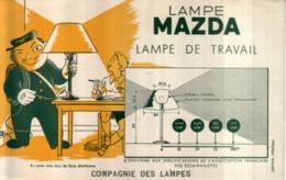 Ancien Buvard Publicitaire LAMPE MAZDA LAMPE De TRAVAIL - Accumulators