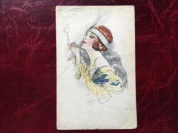 """Cpa-""""femme-bandeau Plume-cigarette""""-Achille Lucien Mauzan (my Ref ALM11) - Mauzan, L.A."""