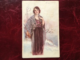 "Cpa-""femme-hiver-jardin""-Achille Lucien Mauzan (my Ref ALM12) - Mauzan, L.A."
