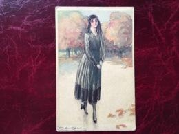 """Cpa-""""femme-promenade-chemin Arbres""""-Achille Lucien Mauzan (my Ref ALM13) - Mauzan, L.A."""