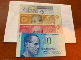 Estonia And Finland Lot Of 4 Banknotes - Estonia
