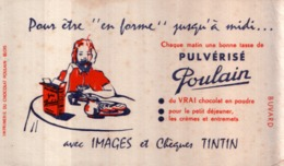 Ancien Buvard Publicitaire CHOCOLAT POULAIN Chèque TINTIN - Cocoa & Chocolat