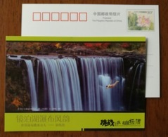Extreme Sports Waterfall Diving Dihuanran,China 2009 Jingpohu Lake Waterfall Landscape Advertising Pre-stamped Card - Holidays & Tourism