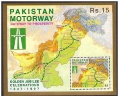 PAKISTAN 1997 - Motorway Project Lahore Islamabad, Map, Highways, Miniature Sheet MNH - Pakistan