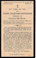 Zingem, 1935, Marie Van Caeneghem, De Block - Devotieprenten