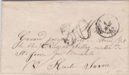 PSC De Toulon (83) Pour Viuz-en-Sallaz (74) - 1er Avril 1864 - CAD Rond Type 15 & 22 + Ambulant - Taxe Double Trait 30 - 1849-1876: Periodo Classico