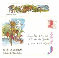 La Réunion Par Avion Enveloppe Illustrée De L'île De La Réunion, Cachet De 1984 La Perle De L'Océan Indien Oiseau - France