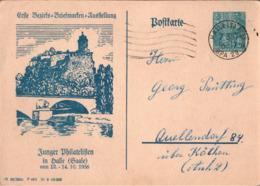 ! 1956, Halle Salle, 1. Bezirks Briefmarken Ausstellung Junger Philatelisten, DDR Privat Ganzsache - DDR