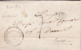 LAC De Guérande (44) Pour Drucourt (27) - 24 Novembre 1846 - CAD 13 & 14 Thiberville + 15 Paris - TM 7 + Cachet 1D - 1801-1848: Voorlopers XIX