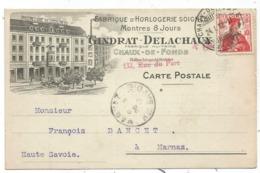 CARTE BELLE  ILLUSTRATION FABRIQUE D'HORLOGERIE SOIGNEE GINDRAT DELACHAUX  LA CHAUX DE FONDS 1912 - NE Neuchâtel