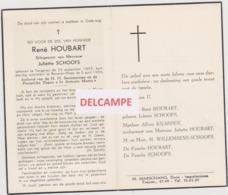 DOODSPRENTJE HOUBART RENé ECHTGENOOT SCHOOFS TONGEREN BEVEREN-WAAS 1893 - 1956   BEWERKT TEGEN KOPIEREN - Images Religieuses
