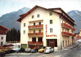 """0810 """"HOTEL BRISTOL - POZZA DI FASSA (TN)"""" VOLKSWAGEN MAGGIOLINO. CART. ILL. ORIG. SPED. 1965 - Italie"""