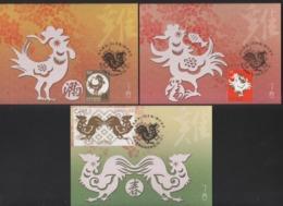 2016 - R.O. CHINA/Taiwan -Maximum Card-New Year's Greeting Postage Stamps (3 Pcs.) - 1945-... Republic Of China