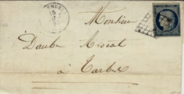 1854- Enveloppe De LANNEMEZAN ( Hautes Pyrénées  ) Cad T15 Affr. N°4 Grille ( 4 Marges ) - Poststempel (Briefe)