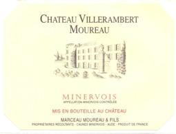 Etiket Etiquette Sticker Zelfklever - Vin - Wijn - Chateau Villerambert Moureau - Minervois - Etiquettes