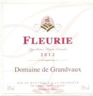 Etiket Etiquette Sticker Zelfklever - Vin - Wijn - Fleurie 2012 - Domaine De Grandvaux - Etiquettes