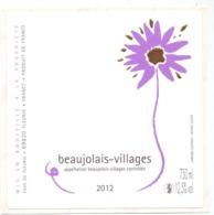 Etiket Etiquette Sticker Zelfklever - Vin - Wijn - Beaujolais Villages 2012 - Beaujolais