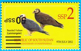 SOUTH SUDAN Stamp ERROR!!! 50 SSP INVERTED Overprint On 2 SSP Birds Bearded Vulture Südsudan Soudan Du Sud - Zuid-Soedan